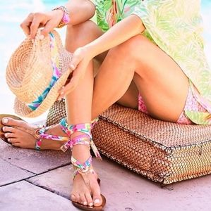 LILLY PULITZER GOLD HARBOR WRAP SANDALS